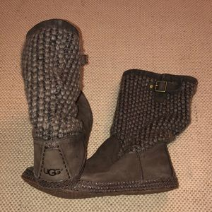 UGG Suede Leather/Knit Boots